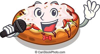 Singing bread bruschetta above cartoon wooden table