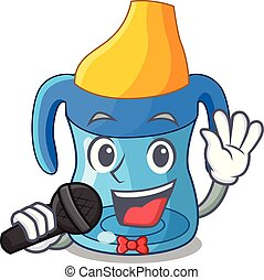 Singing cartoon baby drinking from training cup