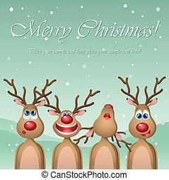 Singing cartoon deers - Christmas card with singing cartoon ...