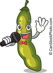 Singing cartoon fresh green beans for cooking