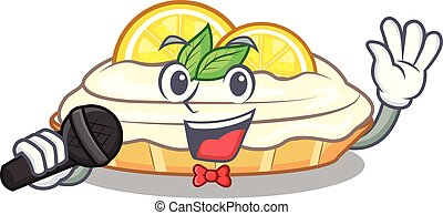 Singing cartoon piece of yummy lemon meringue pie vector illustration