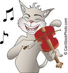 singing cat and violin, vector illustration