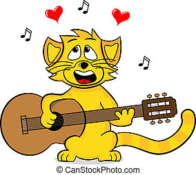 singing cat - vector illustration of a singing cat on white
