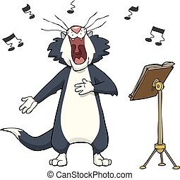 Singing cat on a white background vector illustration