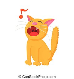Singing cat icon, cartoon style