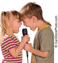 Singing child - Child singing with a microphone. Funny...