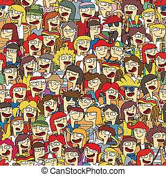Singing children choir seamless pattern