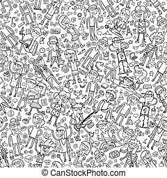 Singing children seamless pattern with doodled youngsters and school objects in black and white. Illustration is in eps8 vector mode, background on separate layer.