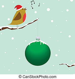 Singing christmas bird - Red Robin sitting on a branch...