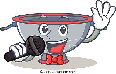 Singing colander utensil character cartoon vector...