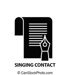 singing contact icon, black vector sign with editable strokes, concept illustration