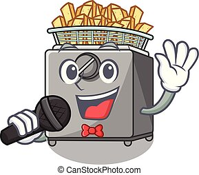 Singing cooking french fries in deep fryer cartoon vector...