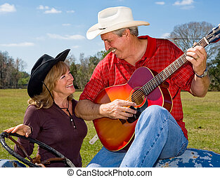 Singing Cowboy & Wife Flirting - Handsome mature singing ...