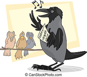 Singing crow - Illustration of singing crow and disgusted...