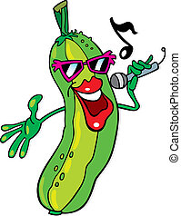 Singing cucumber - Cartoon illustration of funny cucumber...