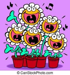 Singing Daisies. - Cartoon of singing daisies.