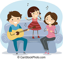 Singing Family - Illustration of a Family Singing Together