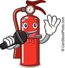 Singing fire extinguisher mascot cartoon