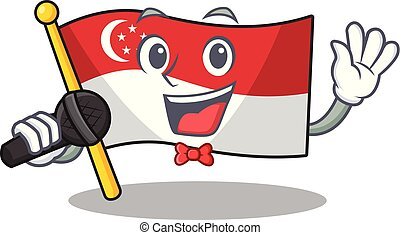 Singing flag singapore isolated with the character vector illustration