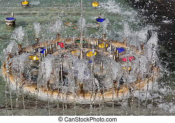 Singing Fountain in Kosice Old Town, Slovakia.