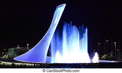 Singing fountain in Sochi Olympic park with colored...