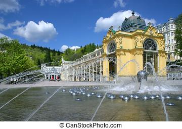 Singing fountain, spa Marianske lazne, Czech republic -...