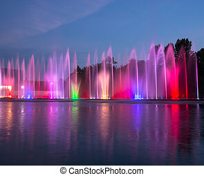 Singing fountains. Glowing colored fountains and laser show....