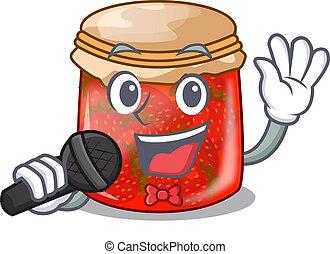 Singing fresh tasty strawberry jam on mascot vector...