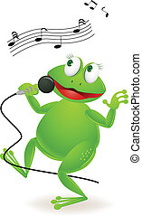 Singing frog - Vector illustration of singing frog cartoon
