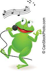 Vector illustration of singing frog cartoon
