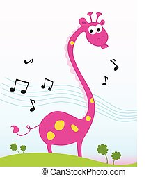 Singing giraffe - Funny jungle giraffe sing a song. Vector...