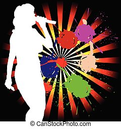 singing girl white silhouette on color background