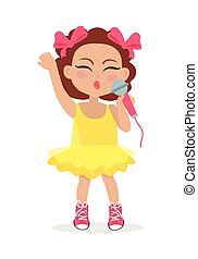 Singing Girl with Bows on Head. Little Singer.