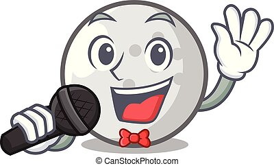 Singing golf ball mascot cartoon