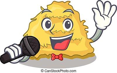 Singing hay bale mascot cartoon vector illustration