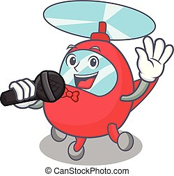 Singing helicopter mascot cartoon style