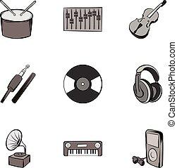Singing icons set, gray monochrome style