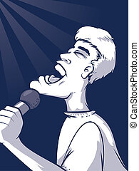 Singing Illustration - Cartoon man holding a microphone and...