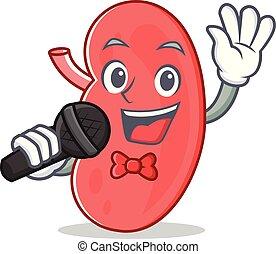 Singing kidney mascot cartoon style