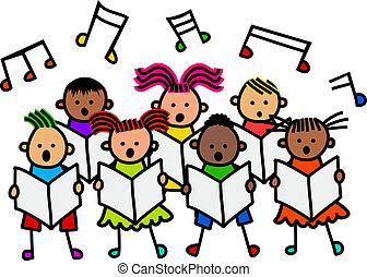 Singing Kids - A group of happy and diverse stick children...