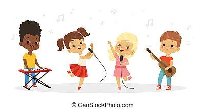 Singing kids. Vector cute children choir. Kids vocal group illustration