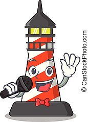 Singing lighthouse on the beach mascot