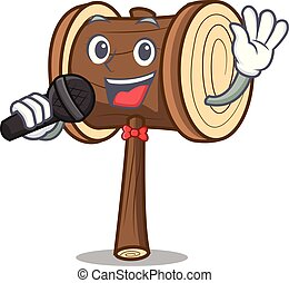 Singing mallet mascot cartoon style