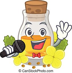 Singing mustard oil wrapped in mascot box