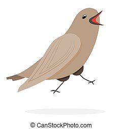 Singing nightingale character. Vector bird, illustration...