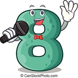 Singing number eight made with cartoon shaped