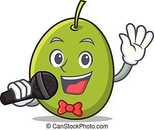 Singing olive mascot cartoon style