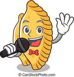 Singing pastel mascot cartoon style vector illustration