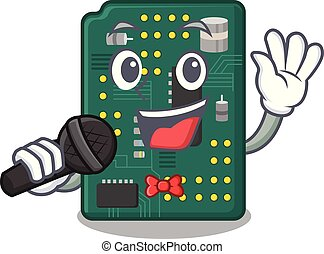 Singing PCB circuit board in PC characters vector...