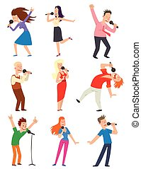 Singing people vector set. - Cheerful corporate party...